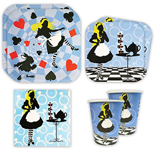 Alice in Wonderland Standard Party Packs (65+ Pieces for 16 Guests!), Mad Hatter Decorations, Alice Birthday Supplies