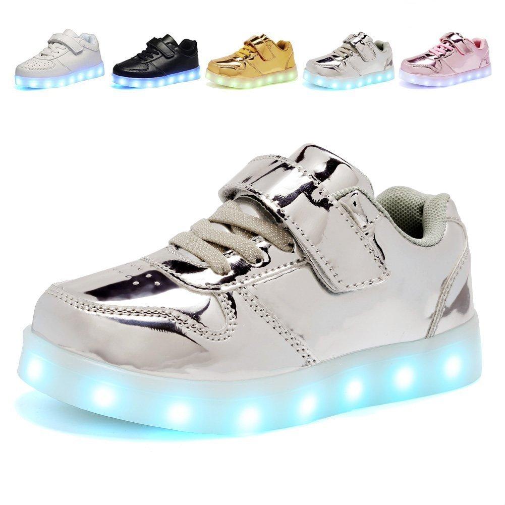 Hanglin Trade Kids 7 Colors LED Luminous Fashion Sport Shoes Flashing Sneakers Silver 1.5 M US Little Kid