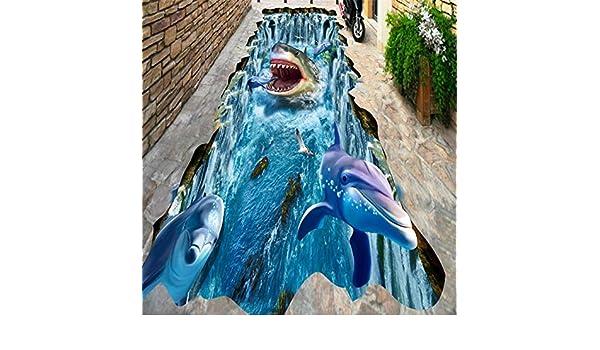 Huytong 3D Papel Pintado Sala De Estar Dormitorio Mural Piso De Pintura Estéreo De Cascada De Delfines De Tiburón 400Cmx300Cm|157.48(In) X118.11(In): ...