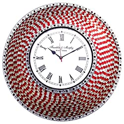 DecorShore 22.5 Red and Silver, Handmade Glass Mosaic Wall Clock, Quiet Motion Design
