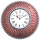 Cheap DecorShore 22.5″ Red and Silver, Handmade Glass Mosaic Wall Clock, Quiet Motion Design