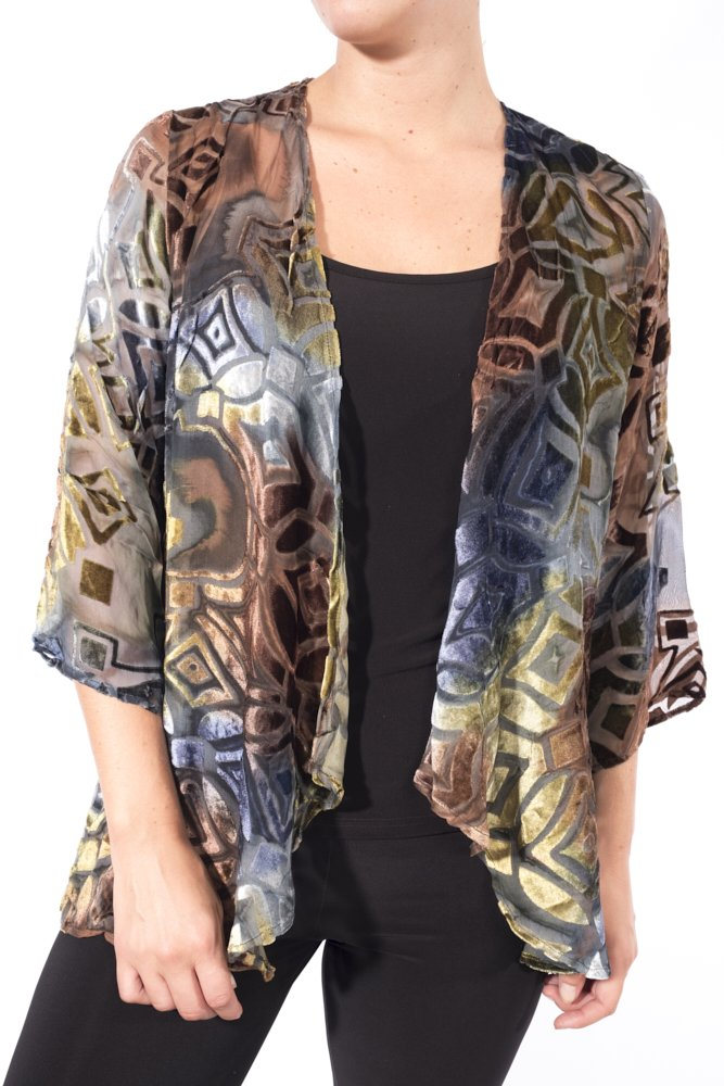 Aris. A Lightweight Sheer Silk Blend Velvet Cover Up Jacket Style VB17309 Size Large