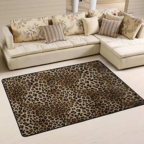 Leopard Print Rugs (Naanle Animal Print Area Rug 2'x3', Leopard Print Polyester Area Rug Mat for Living Dining Dorm Room Bedroom Home Decorative)