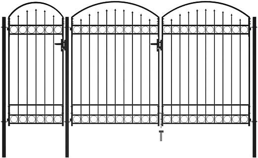 Disfruta Tus Compras con Puerta de Valla de jardín con Arco Superior Acero Negro 2,5x4 m: Amazon.es: Hogar