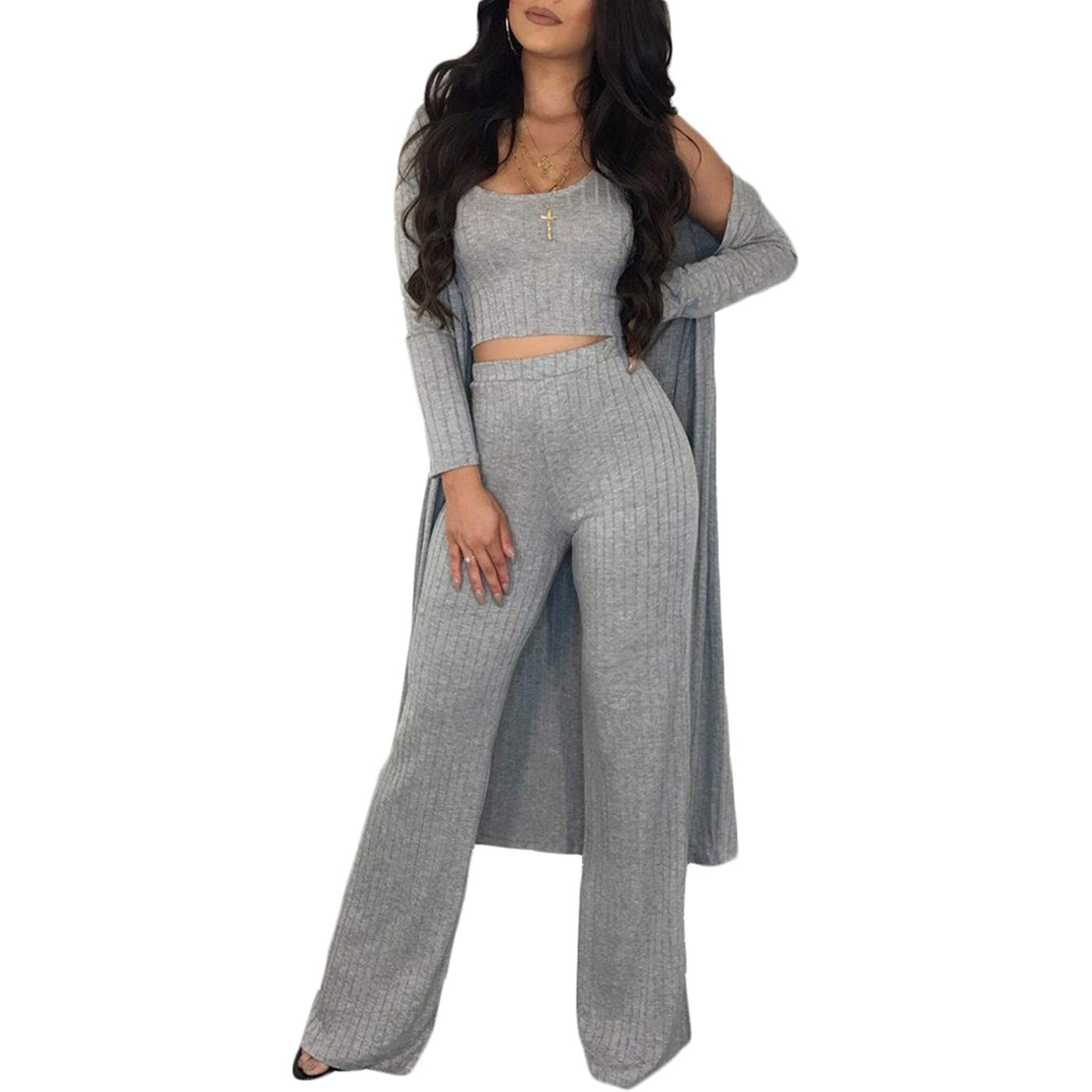 Tiaoqi Women 3 Pieces Sexy Tank Crop Top Long Kimono Cardigan Cover up Bodycon High Waist Wide Leg Long Pants Suit Set (Grey, M)