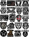 20 Motorcycle Helmet Stickers - 100% Vinyl - Stickers for Adults - Badass Motorcycle Decals Including Skulls, American Flag