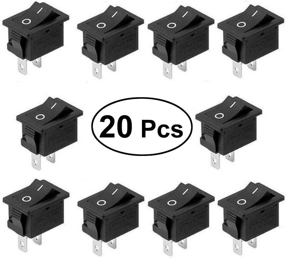 Vorcool Wippschalter 2 Pin Knopfschalter On Off Mini Schalter Snap Für Auto Boot 15x21mm 20 Stück Baumarkt