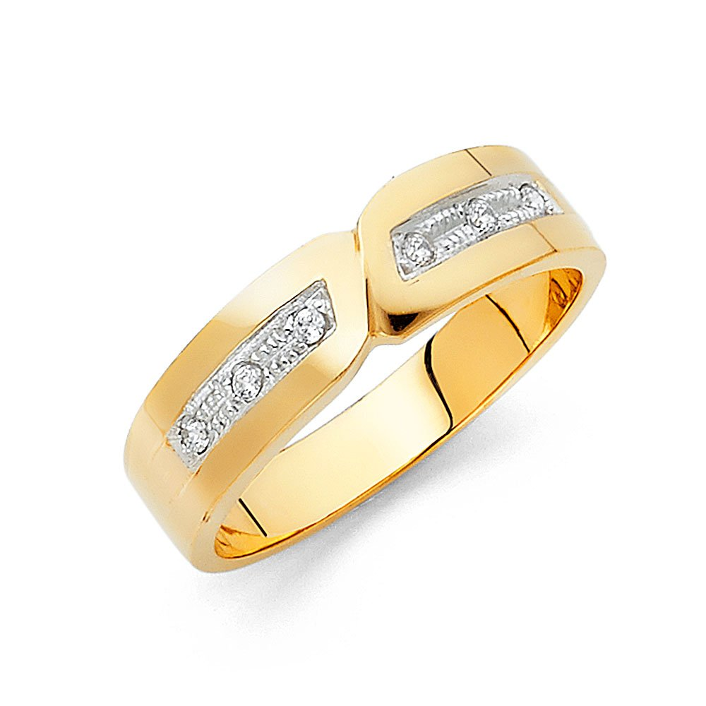 Wellingsale Men's Solid 14k Yellow Gold Polished CZ Cubic Zirconia Wedding Band - Size 11