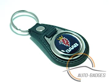 SAAB Quality Black Real Leather Keyring