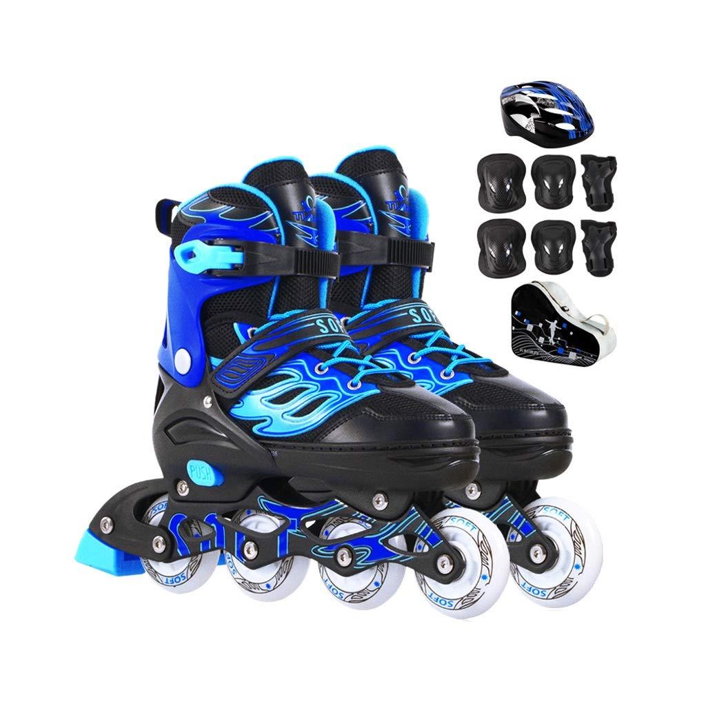 Ailj 屋外の 子供楽しい調整可能な照明 インラインスケートコンボ ファッション快適 ローラーブレード 大人と若者向け 青 (Color : A, Size : S (EU 30-EU 34)) A S (EU 30-EU 34)