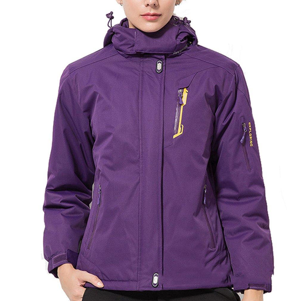 Violet 3XL(Hauteur  175-180cm)(Poids  70-80kg) ehommesmoer Femme Winddicht Imperméable de plein air Sport Veste de Ski Camping Randonnée Hiver Rembourré Doublé Polaire Manteau