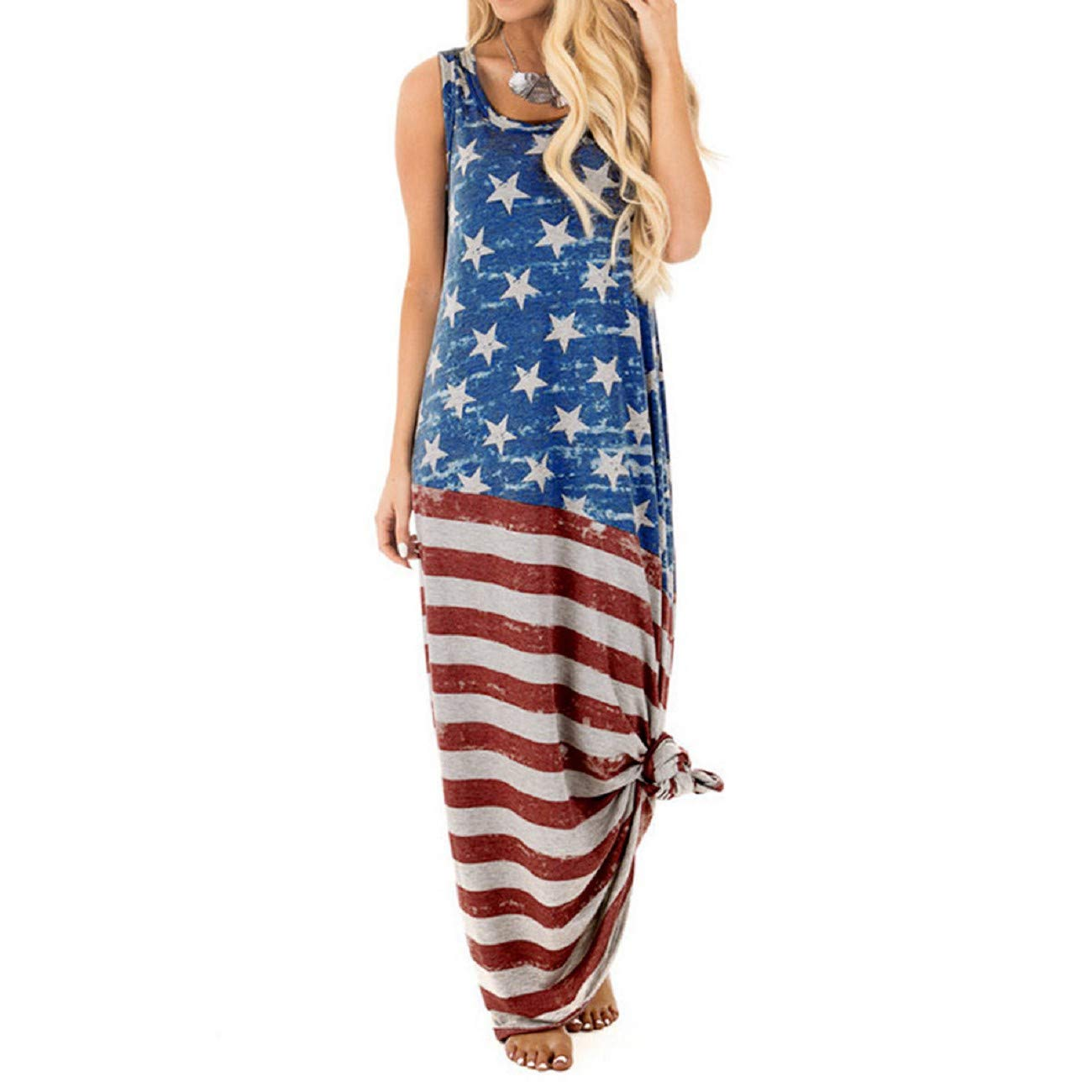 FAPIZI Women American Flag Print Round Neck Sleeveless Maxi Dress Summer Long Casual Loose Beach Dress 4th of July Blue