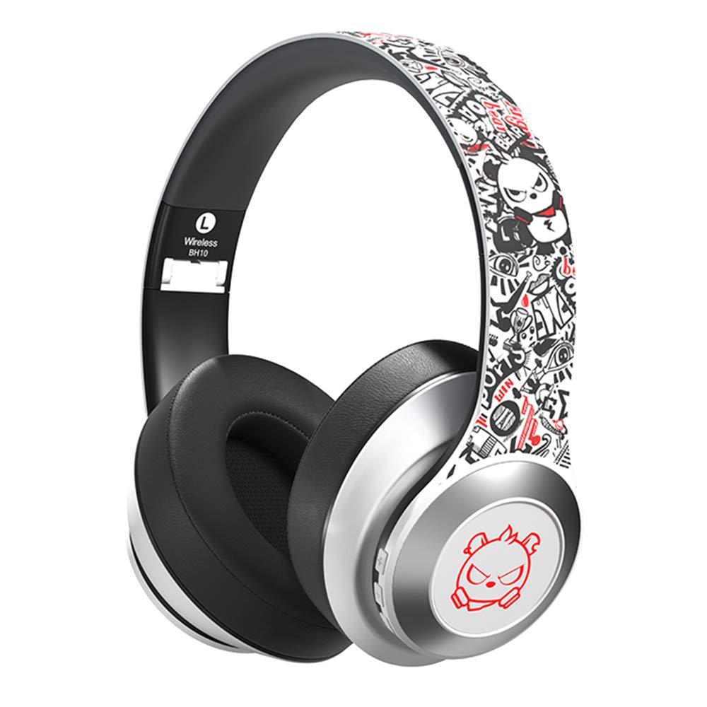 Ushopfun Bluetooth 5.0 Headphones Wireless Headphones Deep Bass Headset Headphone for iPad PC Cellphones (White)