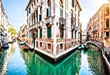 (US) Laeacco 7x5FT Vinyl Thin Photography Background Italy Venice Tourist City Water City Boat Film Festival Scenery Outdoors Children Kids Portraits Backdrop 2.2(W)X1.5(H)M Photo Studio Prop