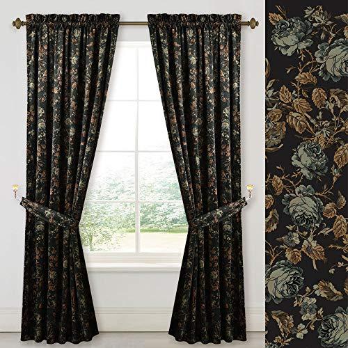 Gorgeous Decor Velvet Blackout Curtains - Natural Floral Design Privacy Velvet Drapes Energy Efficient Heat & Chill Resistant for Master Roomm, Black, 52 x 84-inch, 2 Pcs ( Tie-backs Not -