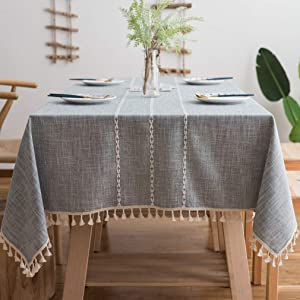Pahajim Linen Rectangle Tablecloth Table Cloth Heavy Weight Cotton Linen Dust-Proof Table Cover for Party Table Cover Kitchen Dinning (Gray Stripe, Rectangle/Oblong,55 x 87 Inch)