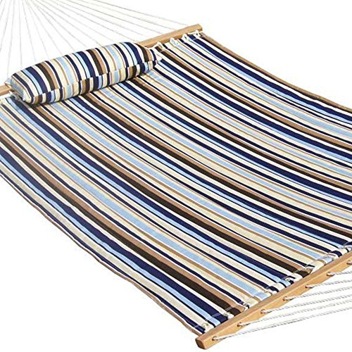 Prime Garden Quilted Double Fabric Hammock, Hardwood Spreader Bars with Pillow,Outdoor Polyester (Sunbrella Outdoor Pillows Sale)