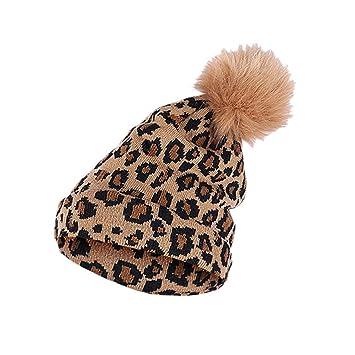Zimuuy Beanie Mütze Frauen Männer Winter Leopard Häkeln Hut