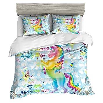 Housse De Couette Unicorn Animal Cheval Enfants Garçons Filles Parure De Lit Blanc Bleu Rose Violet Coloré Unicorn Housses De Couette Rainbow