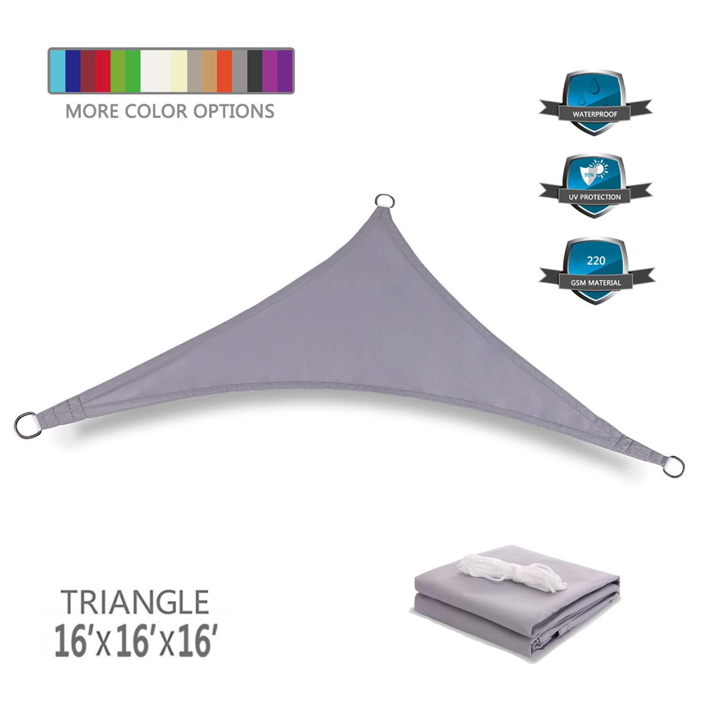 Tuosite Terylene Waterproof Sun Shade Sail UV Blocker Sunshade Patio Equilateral Triangle Knitted 220 GSM Block Fabric Pergola Carport Awning 16 x 16 x 16 in Color Grey