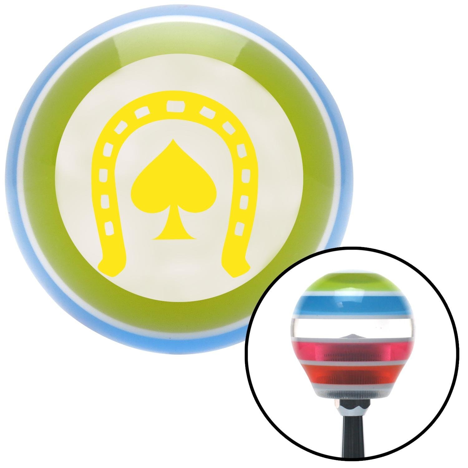 Yellow Horseshoe Over Spade American Shifter 131725 Stripe Shift Knob with M16 x 1.5 Insert