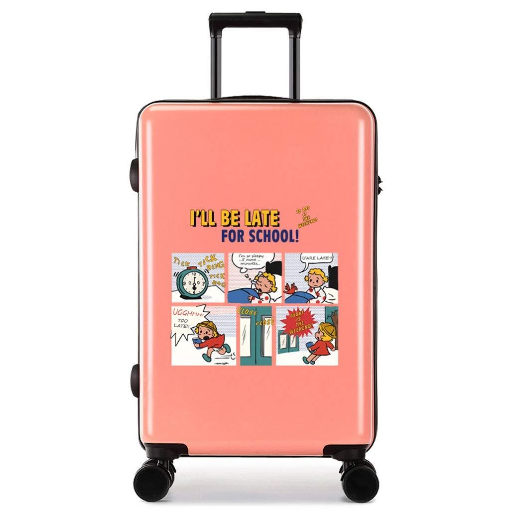 FRF トロリーケース- 学生の個性クリエイティブトロリーケース18/20インチ、男性と女性のユニバーサルホイールスーツケース荷物24/26インチ (色 : Pink D, サイズ さいず : 24in) B07QYR6VXK