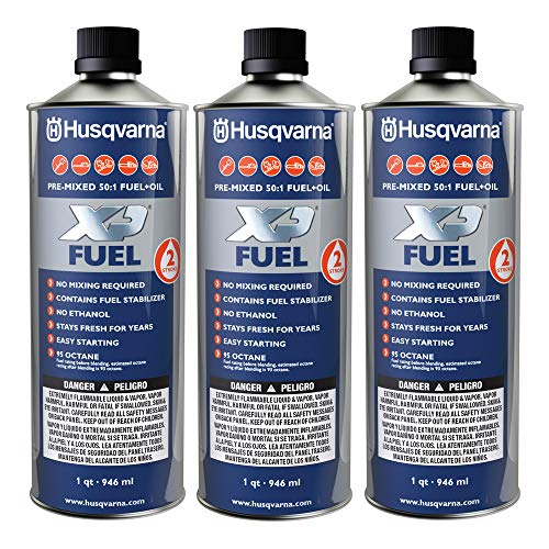 Husqvarna XP Pre-Mixed Fuel and Engine Oil Quart (3 Pack),Blue ()