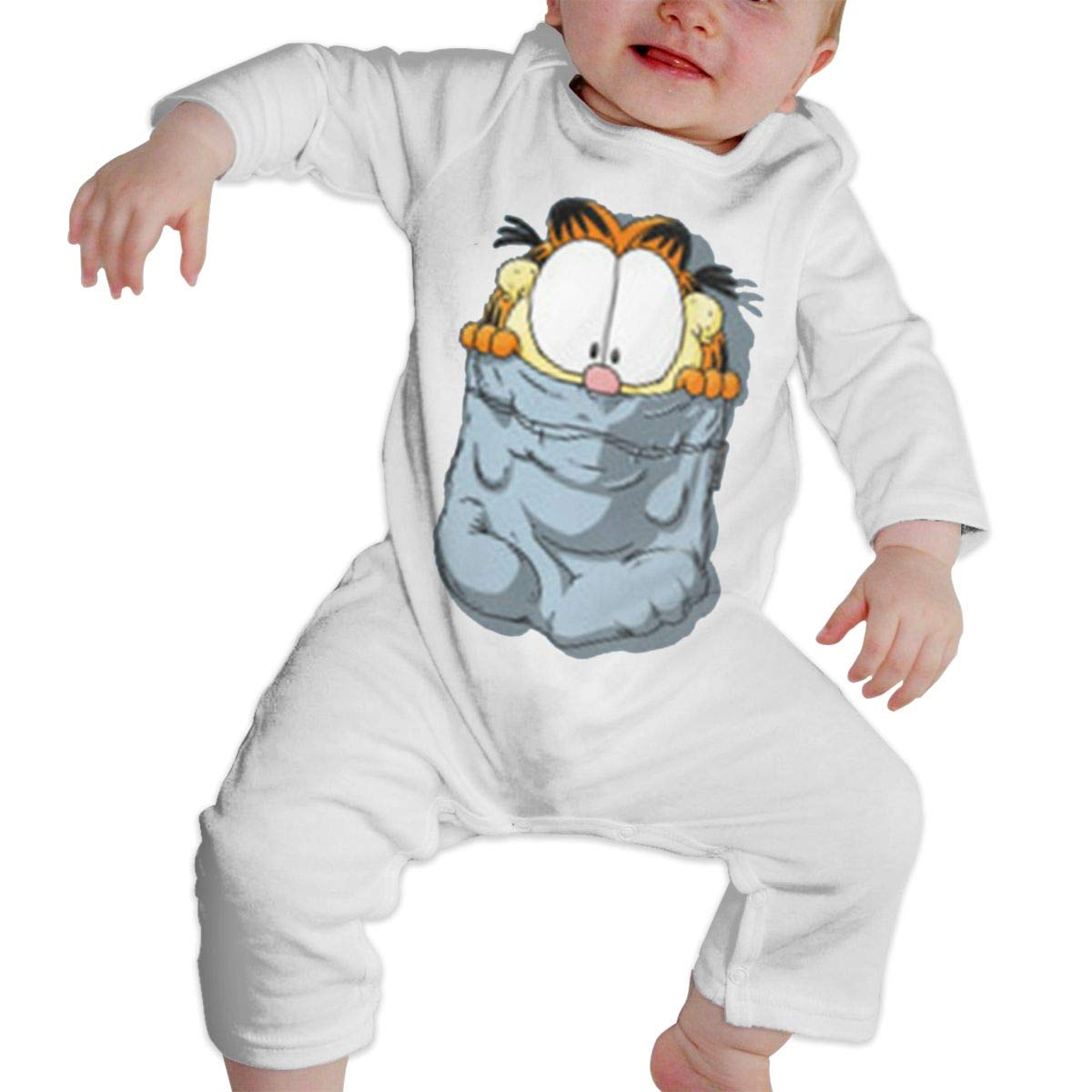 SININIDR Newborn Jumpsuit Infant Baby Girls Garfield Inside Pocket Long-Sleeve Bodysuit Playsuit Outfits Clothes Black