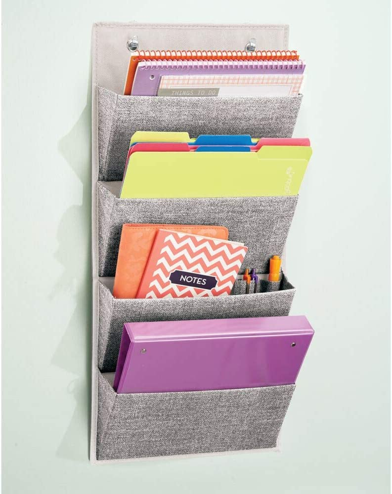 mDesign Soft Fabric Wall Mount, Over Door Hanging Storage Organizer - 4 Large Cascading Pockets - Holds Office Supplies, Planners, File Folders, Notebooks - Textured Print - Charcoal Gray : Office Products