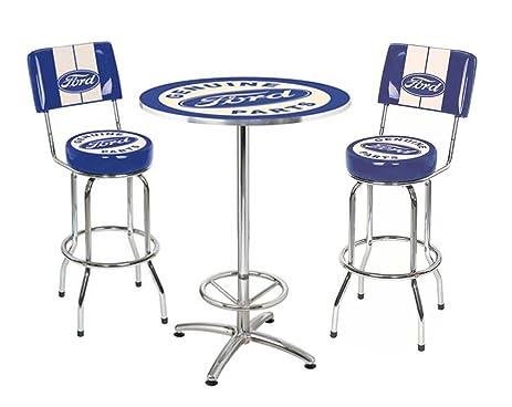 ford genuine parts bar stool and cafe table set 2 stools chrome blue u0026