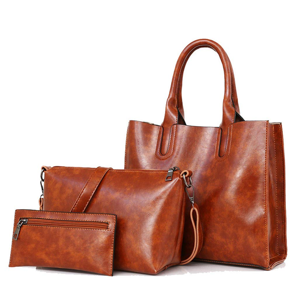 3Pcs Leather Bags Handbags Shoulder Female Casual Tote Women Messenger Bag Set by WUDEF