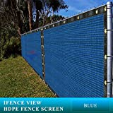 Ifenceview 4'x15' Blue Shade Cloth / Fence Privacy Screen Fabric Mesh Net for Construction Site, Yard, Driveway, Garden, Railing, Canopy, Awning 160 GSM UV Protection