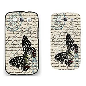 Vintage Old Image Print Hard Plastic Case Cover for Cell Phone Samsung Galaxy S3 I9300 ,Cute Colorful Butterfly Pattern (quotes blacks1161)