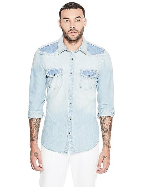 ec5548ec3a GUESS Men s Western Slim Denim Shirt  Amazon.ca  Clothing   Accessories