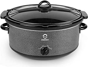 Ateken Slow Cooker 7 Quart Manual with Clip-tight Lid Dishwasher-Safe Stainless Steel Black