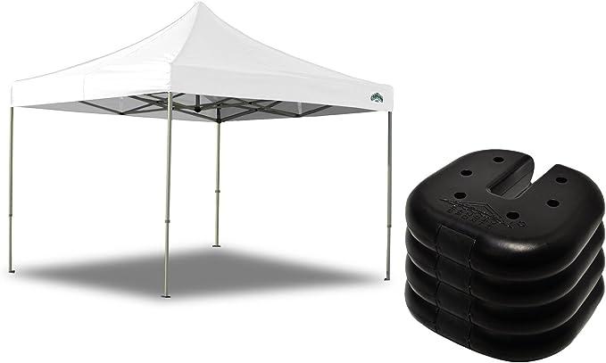 10 x 10 toldo caravana, aluminio blanco Pergola Kits Pop Up tienda de campaña múltiples usos con Premium Peso juego de platos de 4 para suave al aire libre experiencia: Amazon.es: Jardín