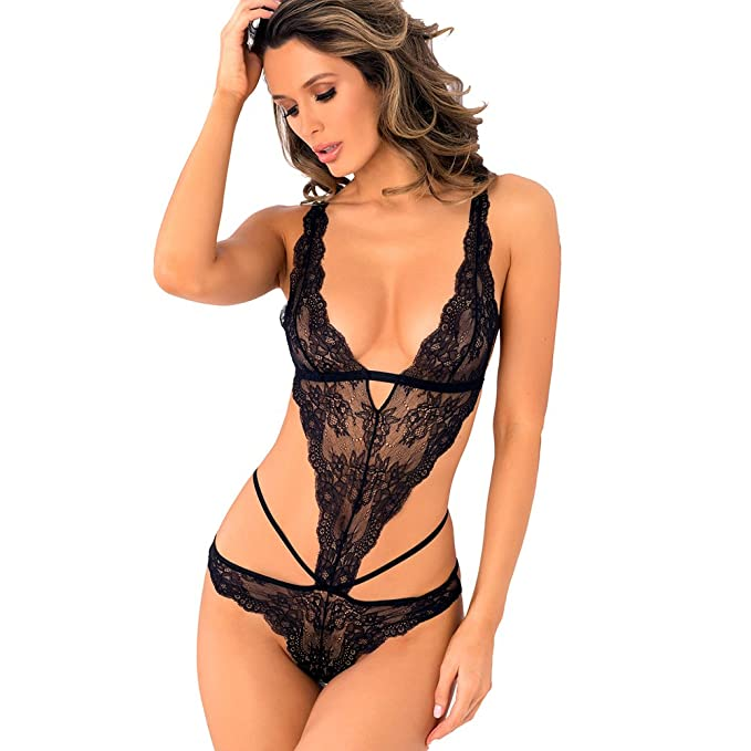 2bc852fc446f0 Women s Sexy High Apex Lace One Piece Cage Teddy Lingerie (Small   Mdium
