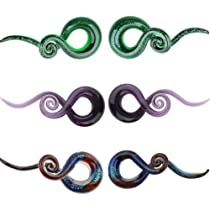 Taper Ear Plugs Star,Spiral Gauges BP-63 Hanging Ear Plugs Taper Ear Gauges Hand Carved Star Spiral Hook Horn Plugs