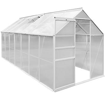 Serre de jardin en aluminium 8,17m² - Avec fenêtres et gouttières -  Jardinage semis plantation