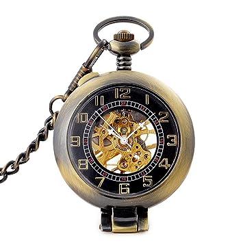 ACZZ Reloj y collar de bolsillo para hombre , calado ...