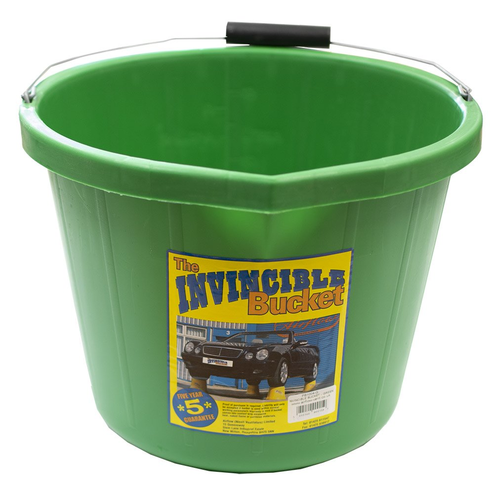 Airflow Heavy Duty Invincible Builders Bucket Green 3 Gallon 15 Litre