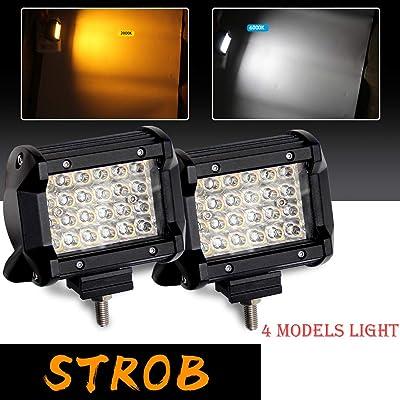 LED Work Light Bar pair Strobe Worklights 4'' Inch Dual Color(3000K/6500K) Fog Lights For Truck Boat Off-road Car: Automotive