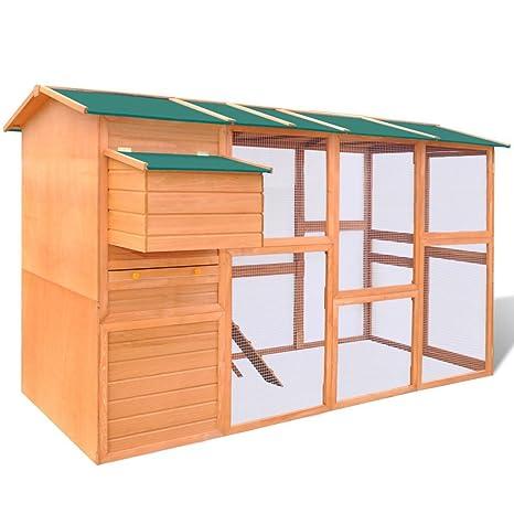 Festnight Solid Pinewood Chicken Coop Hen House 295 x 163 x 170 cm