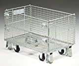 Nashville Wire Collapsible Wire Containers With Zinc-Plated Finish - 32''Wx20''Lx21''H - 1-1/2'' Mesh Size - Container With Casters