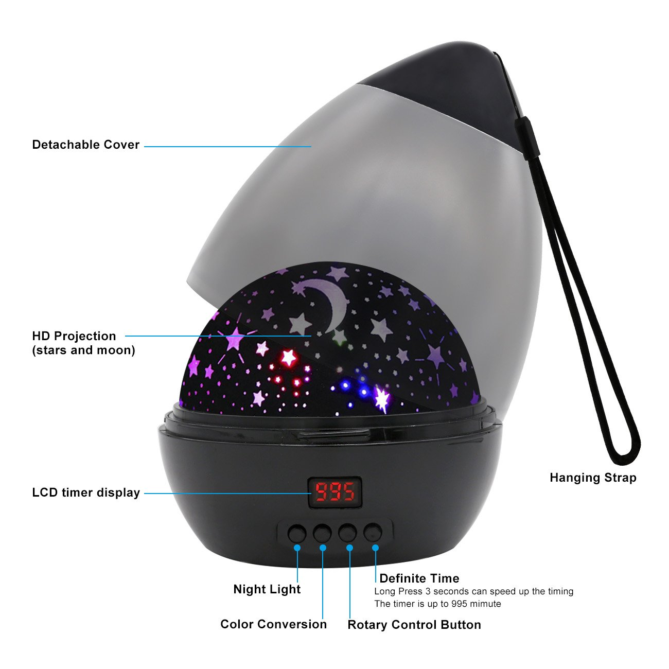 [ Newest Vision ] Star Light Rotating Projector, MOKOQI Night Lighting Star Moon Projection Lamp 4 LED Bulbs 4 Modes with Timer Auto Shut-Off & Hanging Strap for Kids Baby Bedroom (Black) by MOKOQI (Image #3)