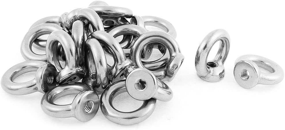 uxcell Lifting Eye Nut M5 Female Thread 304 Stainless Steel Round Shape for Rope Fitting Pack of 5