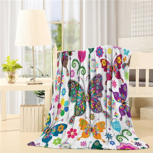 Butterfly Throw - SIGOUYI Lightweight Fleece Blankets Reversible Throw Cozy Plush Microfiber All-Season Blanket for Bed/Couch - Twin 50x60 Inch, Colorful Butterfly Flowers
