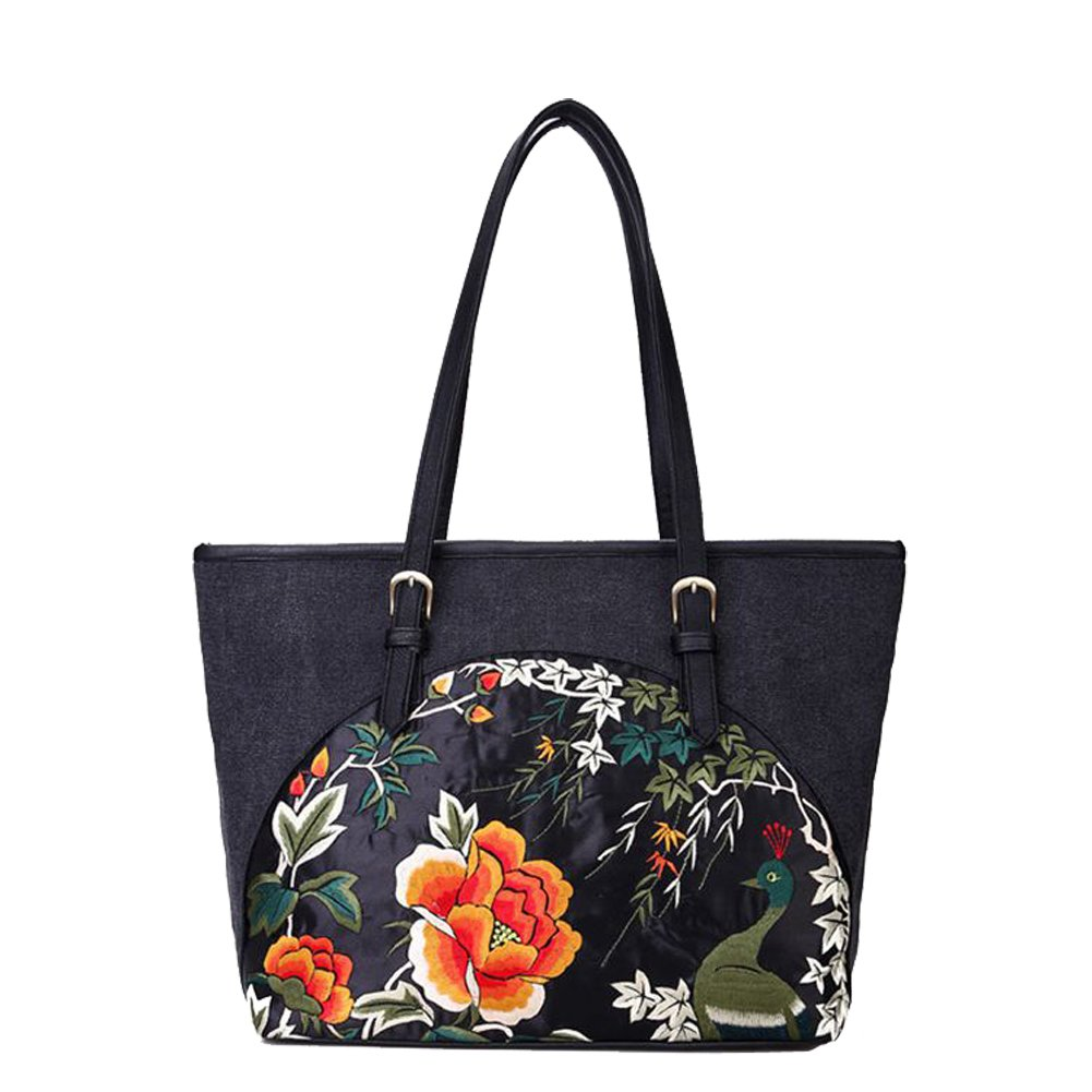 Women's Canvas Floral Tote Shoulder Bags Embroidery Handbag Purse for Ladies (black)