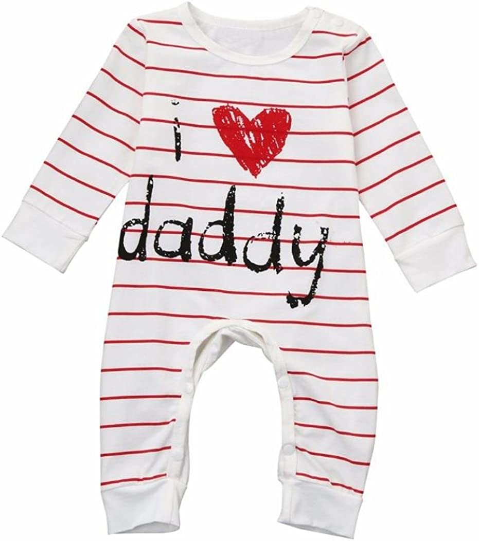Newborn Toddler Baby Boys Girls Cotton Bodysuit Long Sleeve I Love Daddy//Mummy Letter Printed Footed Jumpsuit