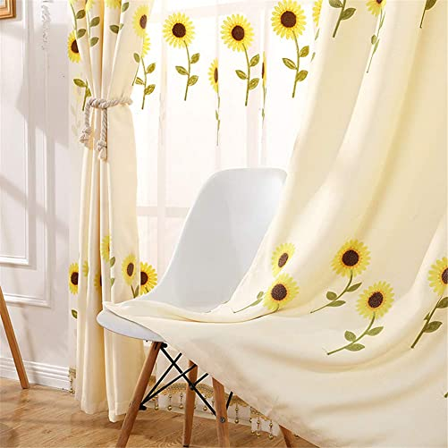 AiFish 2 Pieces Embroidered Sunflowers Semi Blackout Curtain